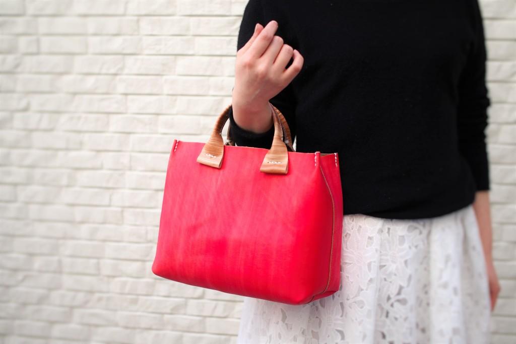 柿渋染め×日本の伝統色(緋色)を使った手作りのハンドバッグ